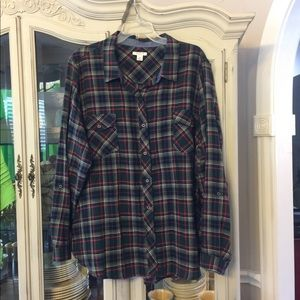 Westbound Woman flannel Button Down Shirt 2X